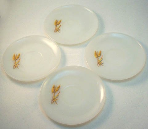 4 Vintage milk glass Fire-King saucers Wheat pattern