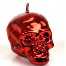 DL & Company MEMENTO MORI Unscented LUSTROUS Metallic RED Medium 1519 SKULL CANDLE