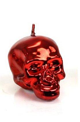 Halloween DL & Company MEMENTO MORI Unscented LUSTROUS Metallic RED Medium 1519 SKULL CANDLE NEW