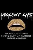 VIOLENT LIPS Temporary Lip Tattoos GOLD GLITTERATTI set of 3 Sparkle Shine Glitter