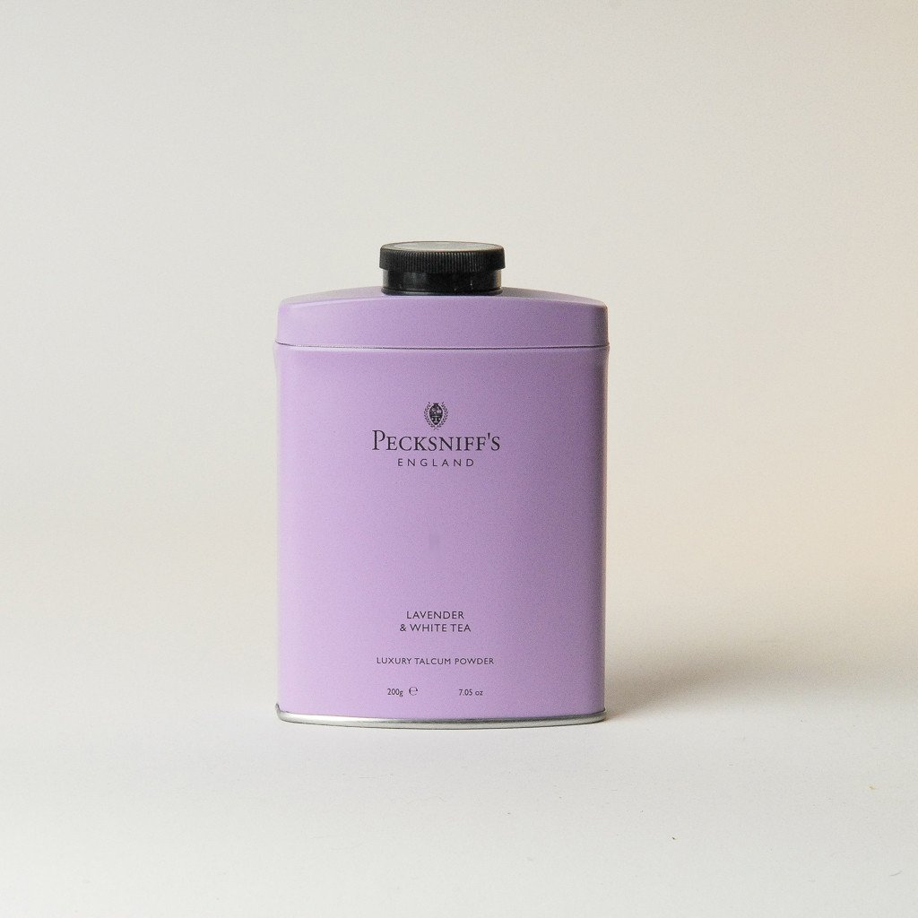 Pecksniff's England LAVENDER & WHITE TEA Talcum Talc Scented Dusting Powder Dry Shampoo