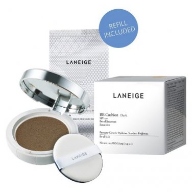 Korean LANEIGE (Amore Pacific) BB Cushion SPF 50 Broad Spectrum Face DARK Foundation Compact