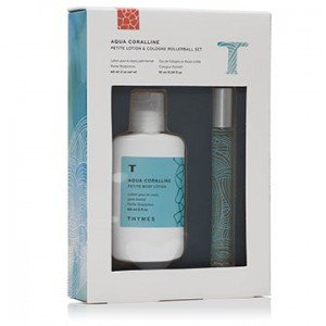 THYMES Aqua Coralline EAU DE COLOGNE ROLLERBALL fragrance + PETITE BODY LOTION water lily Bamboo SET