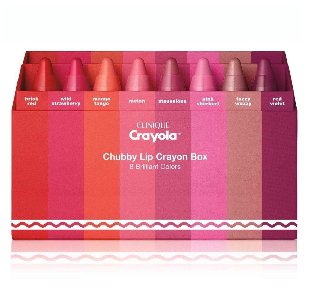 Clinique CHUBBY LIP CRAYON BOX 8 reds pinks LIPS Lipstick LIMITED EDITION NEW SET moisturizing balm