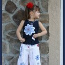 Girls Boutique Custom  FLOWER POWER Capri Set 18M - 2T