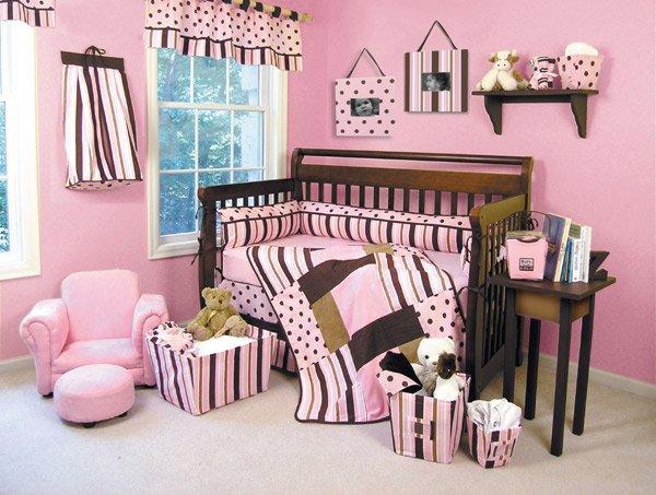 Maya Modern Pink & Brown 6-Piece Crib Bedding Set - Trend Lab - ! FREE SHIPPING !
