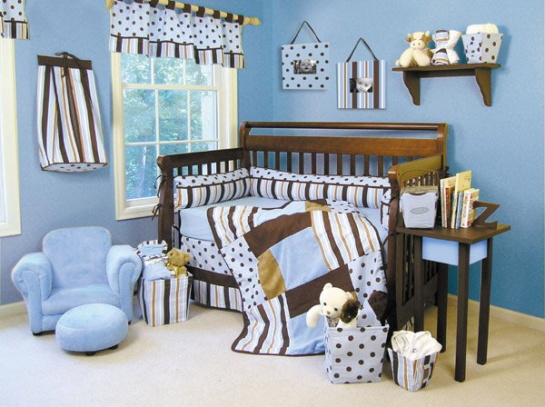 Max Modern Blue & Brown 5-Piece Crib Bedding Set - Trend Lab - ! FREE SHIPPING !