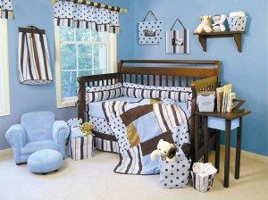 Max Modern Blue & Brown 5-Piece Crib Bedding Set - Trend Lab - ! FREE SHIPPING !