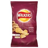 Walkers smokey bacon crisps 6X25g packs from the UK