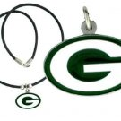 Packers Rubber Cord Pendant Necklace