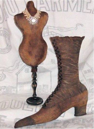 1892 Life size Victorian Boot and Dress form ePattern