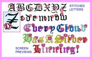Machine Embroidery Designs ALPHABET W/ TULIPS
