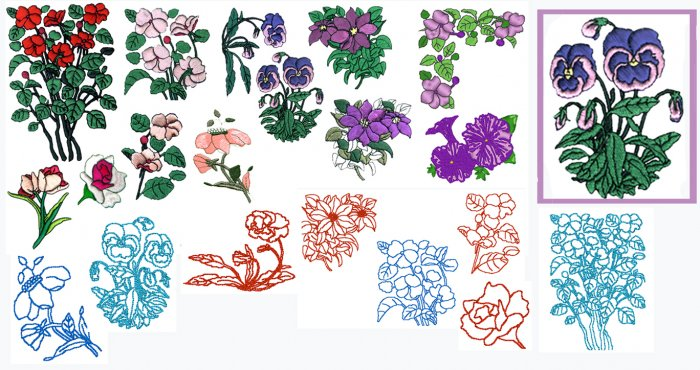 Machine Embroidery Designs MIXED FLOWERS #1