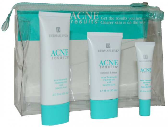 DERMABLEND ACNE RESULTS 3 PIECE SET TREATMENT GOLDEN