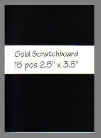 Black/Gold Scratchboard precut blank art cards