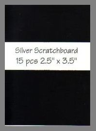 Black/Silver Scratchboard precut blank art cards