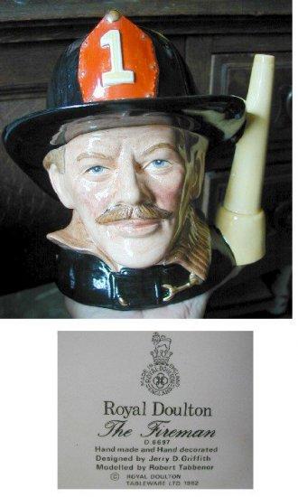 Royal Doulton Jug Fireman