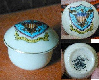 Unusual Arcadian Crested China Lidded Pot or trinket box,