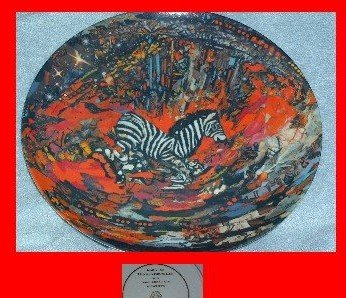 """Lenore Beran Plate """"Horse of a Different Color"""" Zebra"""