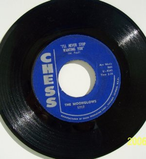 MOONGLOWS  I'll Never Stop Wanting You - Love Is A River  1959 Doo Wop 45rpm Vinyl