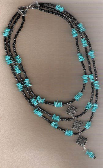 Dyed Turquiose Blue Shell Chip and Black Bead Three Strand 22 inch Necklack