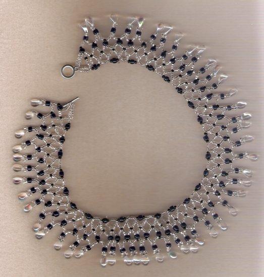 Blue Seed Bead with Clear Teardrop Bead Choker