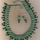 Green Seed bead Net Stitch 19 inch Necklace Set
