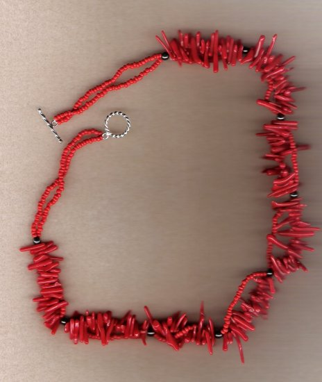 Mini Coral Branch Beaded Handcrafted 18 inch Necklace
