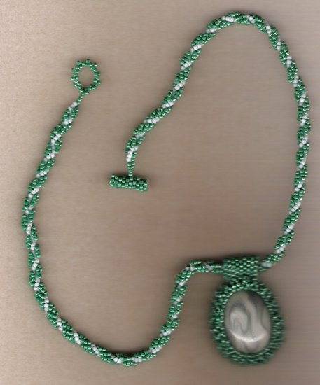 Green Seed Beaded Cab Handcrafted 18 inch Necklace