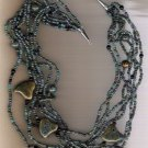 Raku Blue Ceramic Beaded Handcrafted 26 inch Necklace