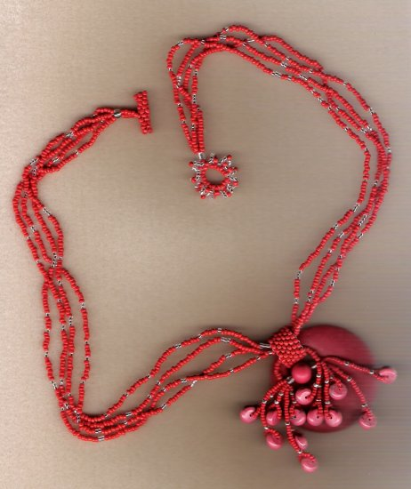 Red Coral Donut Handcrafted 23 inch Necklace