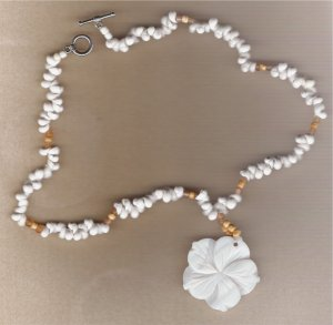White Mother of Pearl Flower Pendant Handcrafted 17 1/2 inch Necklace