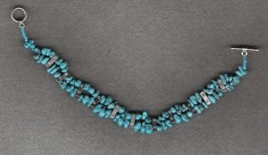 "turquiose nuggets 8 1/2"" handcrafted OOAK bracelet"