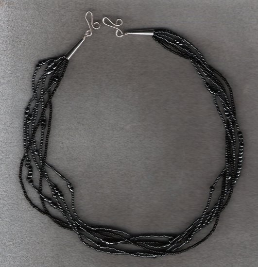 Black Seed Multi Strand Handcrafted 20 inch Necklace