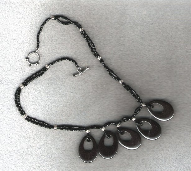 Hemetite Go Go Donuts Handcrafted 16 inch Necklace