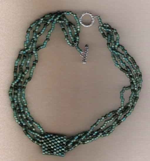 Sea Green E Bead Multi Strand Handcrafted Beaded 19 inch Necklace