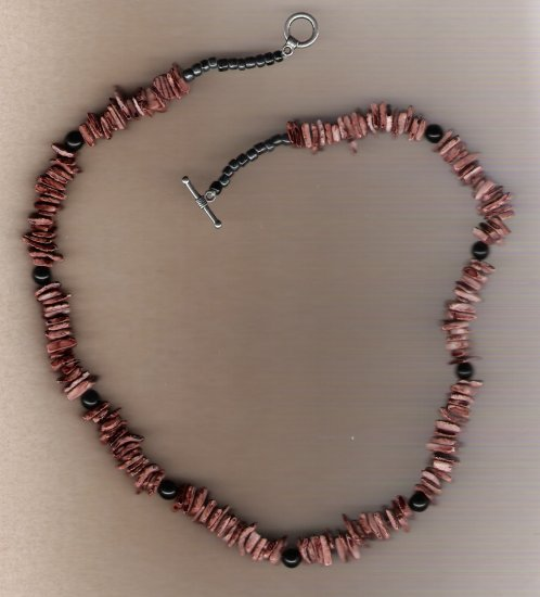 Brown Dyed Shell Beaded 20 inch Necklace