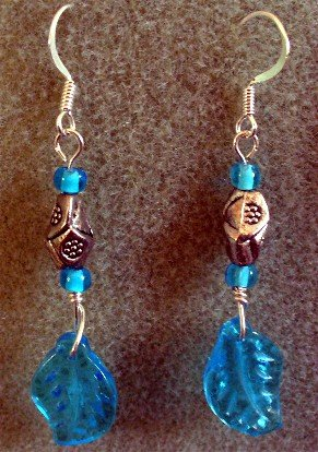 Silver Blue Glass Leaf Earrings