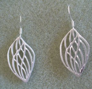 Brushed Silver Open Leaf French Hook Earring