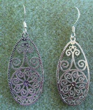 Oval Lazer Cut Silver French Hook Earrings