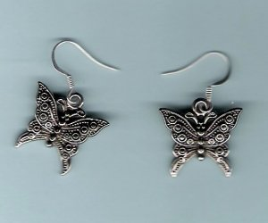 Handcrafted Silver butterfly Earrings