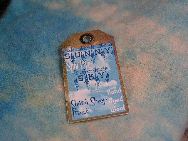 Hand Dyed Rug Hooking Wool w/Lanolin~SUNNY SKY BLUE SPOT DYE~Shorn Sheep~Fat Quarter~FREE US SHIP