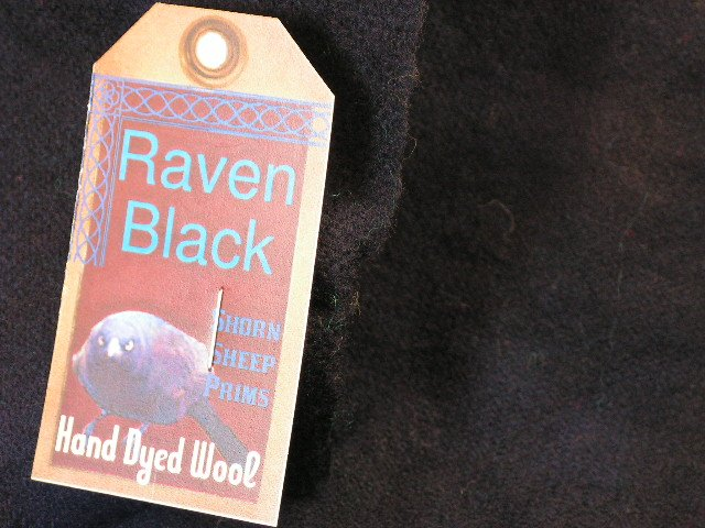 RAVEN BLACK - Hand Dyed Lanolin Wool - Rug Hook, Quilt, Penny Rug-Shorn Sheep - Free US Ship