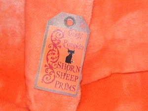 Hand Dyed Rug Hooking Wool w/Lanolin~BRIGHT PUMPKIN~Shorn Sheep~Fat Quarter~FREE US SHIP