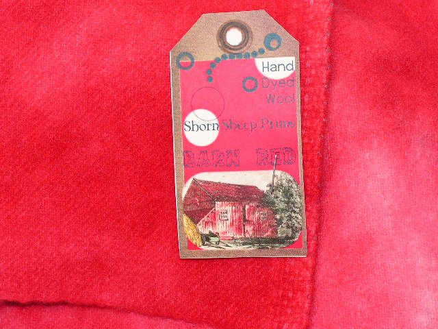 BARN RED - Hand Dyed Lanolin Wool - Rug Hook, Quilt, Penny Rug - Shorn Sheep - Free US Ship - 1/4 YD