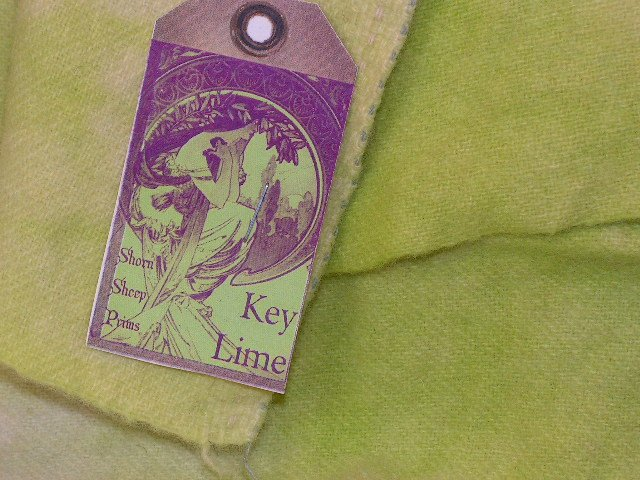 KEY LIME - Hand Dyed Lanolin Wool - Rug Hook, Quilt, Penny Rug - Shorn Sheep - Free US Ship - 1/4 YD