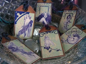 Fairy Tale - Fairies and Imps on glitter Card Stock set no. 2- Set of 6 Hang Tags, Gift Tags