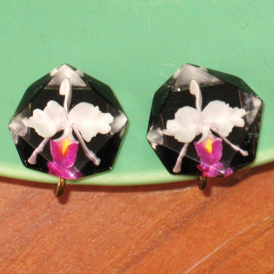 * S A L E * vintage reverse carved lucite orchid earrings -  jewelry