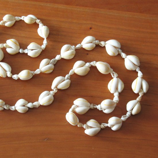long vintage shell necklace - jewelry