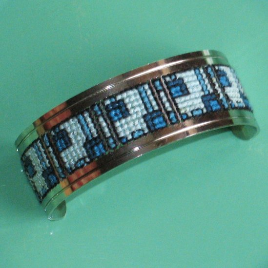 cross stitched silvertone cuff boxy blue geometric design - vintage jewelry